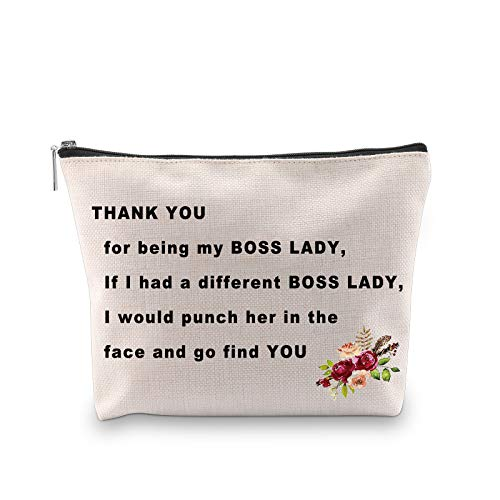 PXTIDY Funny Boss Lady Gifts Thank You For Being My Boss Lady Makeup Cosmetic Bag Female Boss Gift Boss Makeup Bag Gift for Managers from Employee, Coworker (beige)