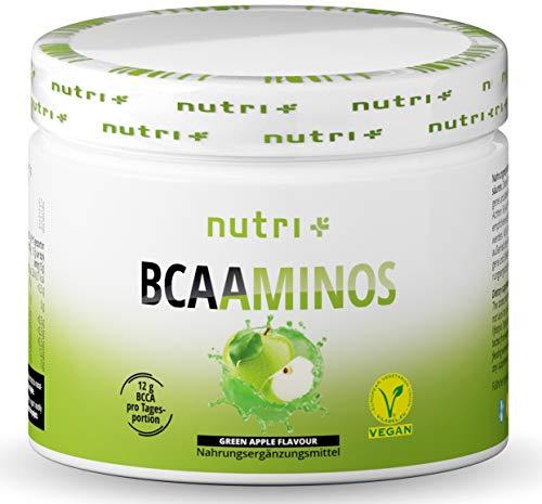 BCAA PULVER Green Apple - Aminosäuren Komplex hochdosiert - BCAAs Instant Powder Vegan - BCAAminos Supplement - Geschmack: Grüner Apfel 300g - Aminosäurepräparat