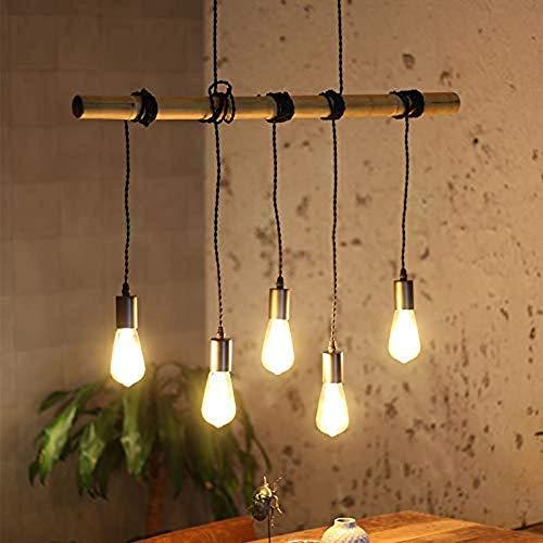 CSD Colgante de la lámpara de techo Lámparas luces Holder antiguo retro cáñamo industrial cuerda 5-Llama luz colgante ajustable en altura