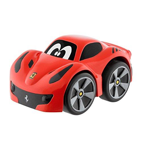 Chicco Ferrari Mini Spielzeug Rennauto Turbo Touch F12 Tdf, Rot, Pull Back Autos für Kleinkinder ab 2 Jahren
