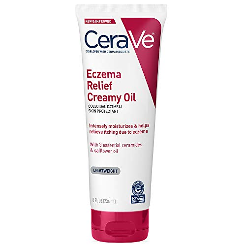 Cerave Eczema Relief Creamy Body Oil | Anti Itch Cream for Eczema & Moisturizer for Dry Skin with Colloidal Oatmeal, Ceramides and Safflower Oil | 8 Ounce