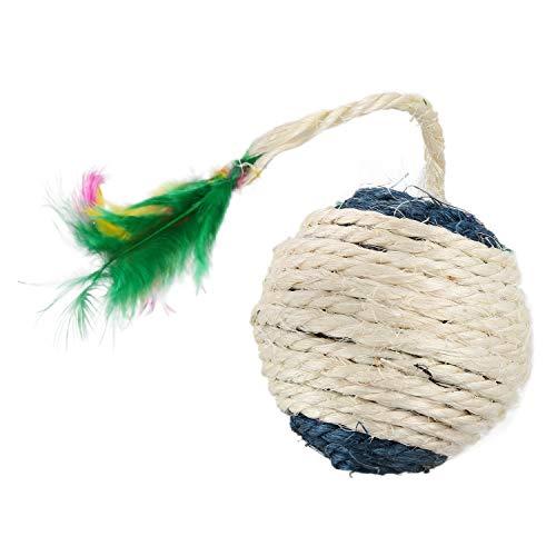 LBWNB Katzenspielzeug mit rollendem Sisal-Kratzball, lustige Kätzchenpuppen, Tumbler, Ball, interaktives Federspielzeug