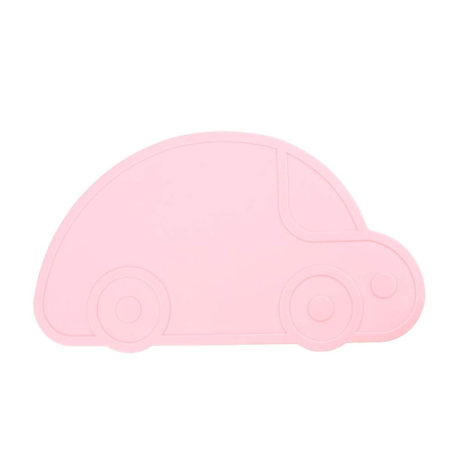 クランシー資格情報外側ランチョンマット テーブルマット シリコン ベビー 子供用 可愛い 食事マット 撥水 防汚 丸洗い 車 (ピンク)