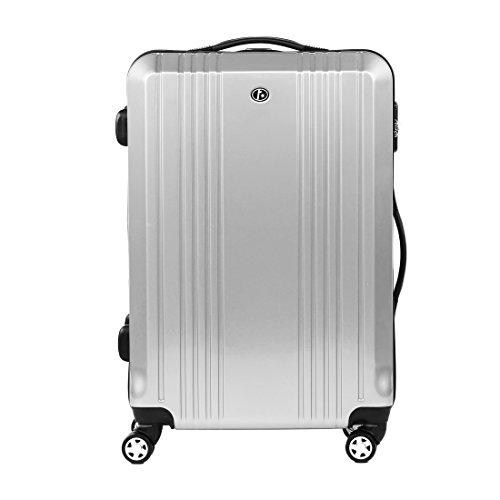 FERGÉ Trolley grande CANNES - Valigia rigida valigia da 28' con 4 ruote (360) argento
