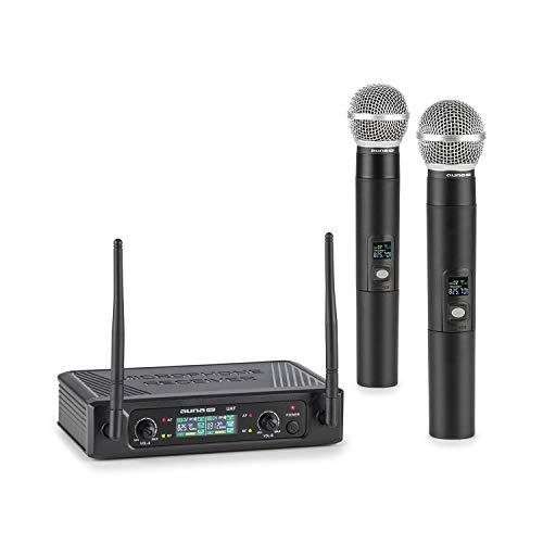 auna Pro UHF200F - 2-Kanal UHF-Funkmikrofon-Set, Set: Receiver + 2 x Handmikrofon, kabellos: 40 m Reichweite, fixe Frequenz, Display, 2 x XLR-Ausgang / 1 x Klinken-Ausgang, schwarz