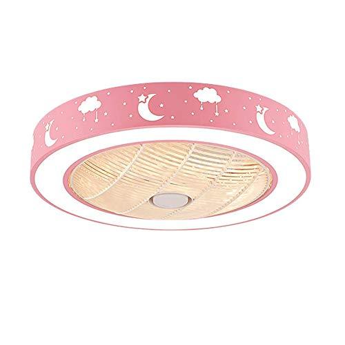 LMYMX Ventilador de Techo Silencioso con Mando a Distancia, Lámpara de Techo Ventilador con Mando a Distancia, Ventilador Iluminación para Dormitorio Habitación de Niños, Rosa