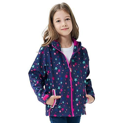 Kids Rain Jackets Light Waterproof Hooded Rain Coats Windbreakers for Girls Star 5/6