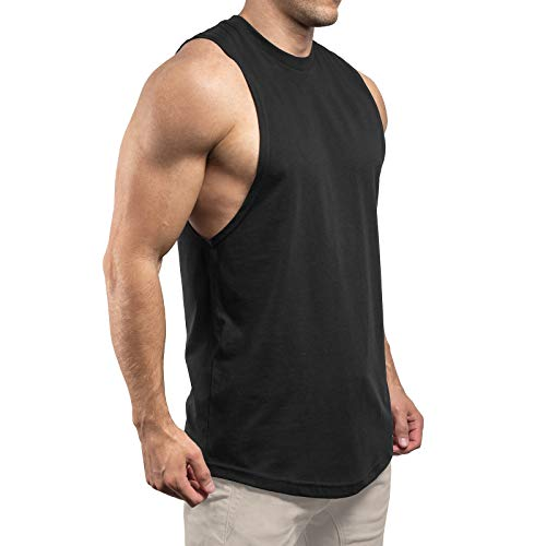 Sixlab Round Cut Off Tank Top Herren Muskelshirt Gym Fitness (XL, Schwarz)