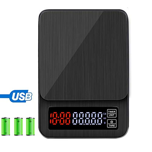 LXYScales Digitale hoge precisie koffieschaal zwart 5 kg 0,1 g LCD met timer draagbare keukenweegschaal USB, tara-functie goed afleesbaar display keukenweegschaal