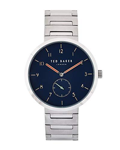 Ted Baker heren heren roestvrij staal horloge op armband met blauwe wijzerplaat 'Josh' TE50011009