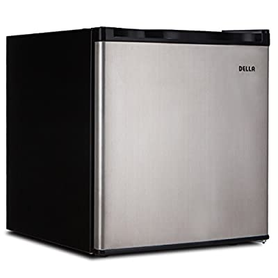 Della Compact Reversible Door Mini Refrigerator & Freezer, 1.6 Cubic Feet, Black/White and Stainless Steel