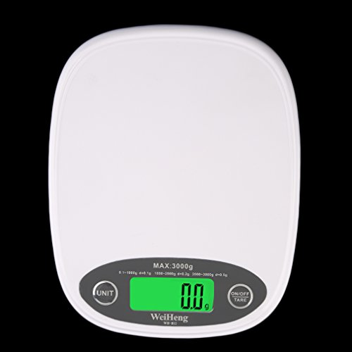 Leoboone White Slim LCD Elektronische Küchenwaage 3Kg / 0,5 Digital Food Diet New Kitchen Scale