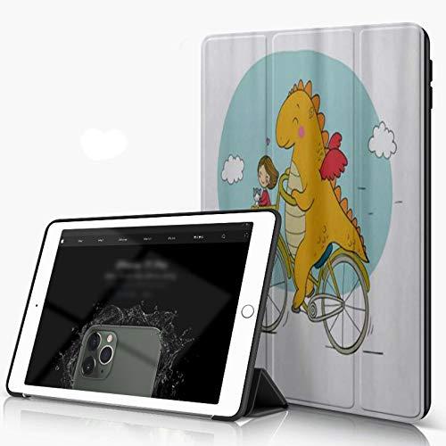 Carcasa para iPad 10.2 Inch, iPad Air 7.ª Generación ,Único Happy Friendly Dragon Traveler con dibujos animados de viveros de niñas y gato,incluye soporte magnético y funda para dormir/despertar