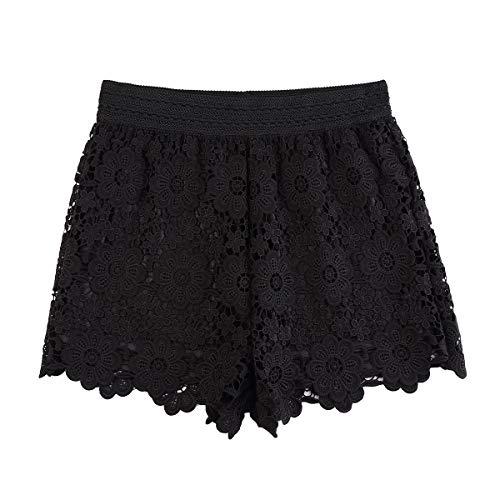 KGYA Women's Sexy Short Inseam Elastic High Waisted Summer Beach Crochet Black Lace Shorts