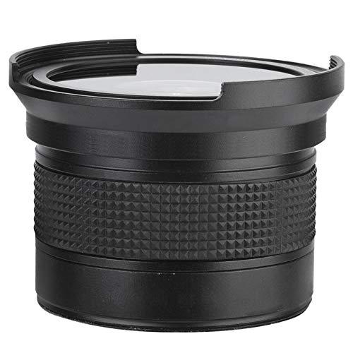 Akozon Lente 58MM 0.35X Fisheye Lente súper Gran Angular, Lente de Ojo de pez asférica de Gran Angular Profesional para cámara SLR DSLR Lente de Ojo de pez Negro