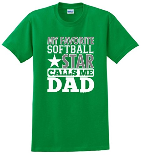 ThisWear Camiseta My Favorite Softball Star Calls Me Dad - Verde - Small