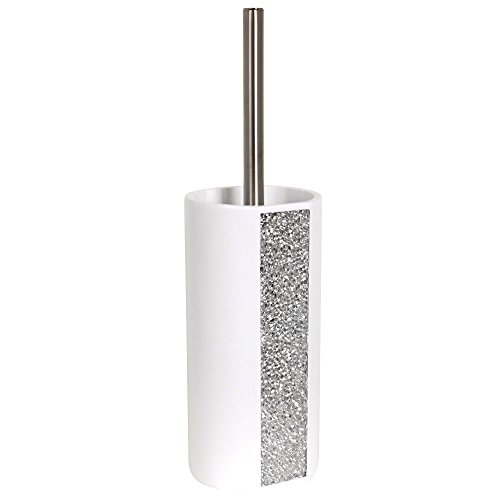 MSV Bad Serie Luanda WC Bürste Toilettenbürste Klobürste WC Garnitur aus Keramik Weiß Glitzer