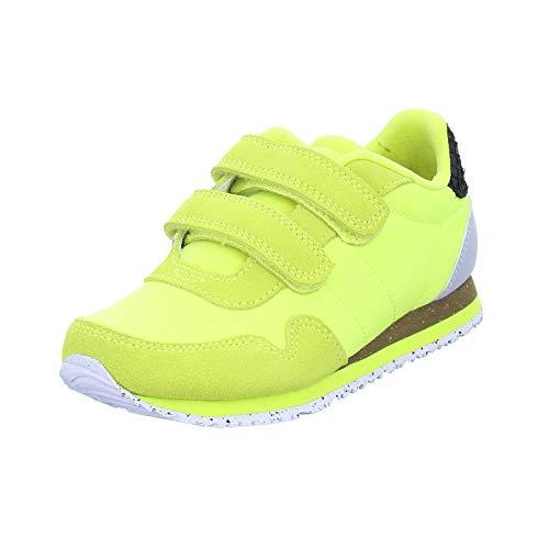 Woden Kinder Halbschuh Nor Suede Sneaker mit Klettverschluss und Korksohle Grün (neon Green) Größe 35 EU