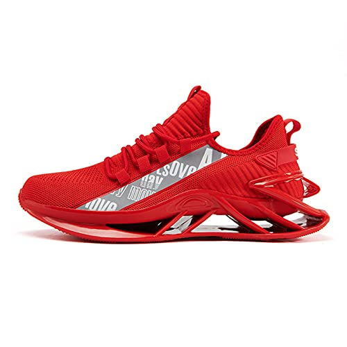 Jakcuz Zapatillas de correr para hombre, deportivas, transpirables, para mujer, con cordones, para fitness, jogging (39/46), color Rojo, talla 39 EU