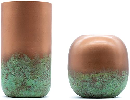 samui | Art Deko Vase in Kupfer Optik mit Patina Veredlung - Industrial Style, Modern, Rustikal (Zylinder)