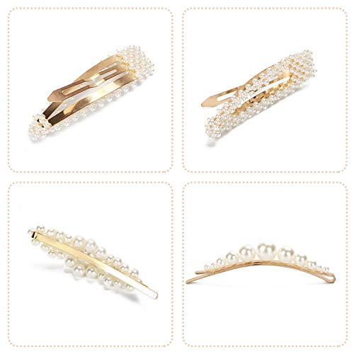 Pearl Hair Clips for Women 9 Pack Large Fashion Hair Barrettes Party Birthday Wedding Bridal Hair Clips 5