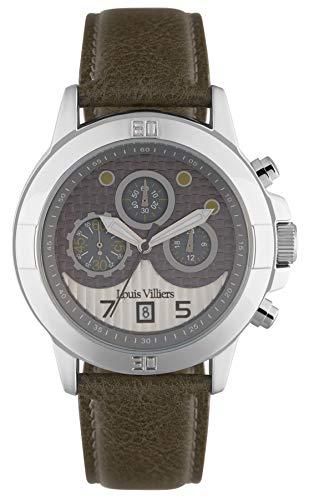 Louis villiers heren horloge analoog kwartsuurwerk met lederen armband LVP1912