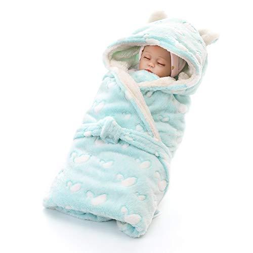 MOMIN-HM Baby-Schlafsack Nette Neugeborene Swaddle Decken-Baby-Mädchen Decken Plüsch Baby Shower Geschenke für Säuglingskleinkind (Farbe : Green swan, Größe : 80X80cm)