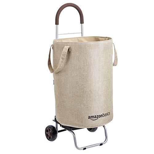 Amazon Basics Wäschewagen, umwandelbar in Sackkarre, 91 cm Griffhöhe, Beige