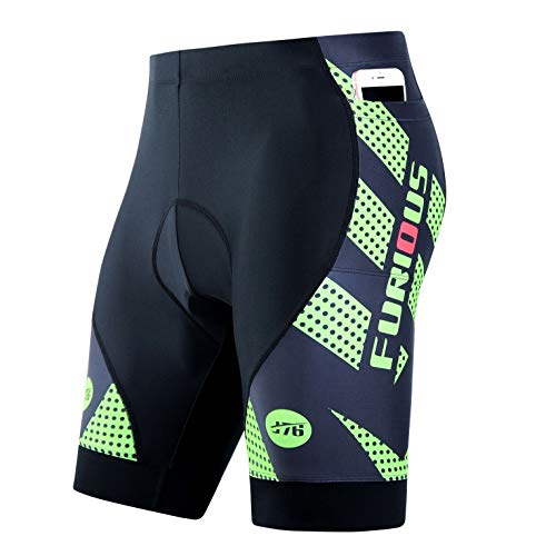 Inkpoo Men's Cycling Shorts 3D Padded with 3 Pockets Bicycle Riding Tights Quick-Dry Half Pants Green S