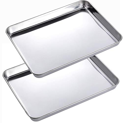 2 Pack Stainless Steel Tray Non Toxic Heavy Duty Thickening Pan for Kitchen Baking, Lab Instrument, Dental, Tattoo Medical Surgical Instrument, Pet Treatment, Cigarette Rolling, Jewelry Tools