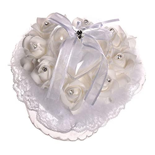Sharplace Almohada del Corazón Pearl Pearl Satin Flower Anillo de Boda Portador para La Boda Decorativa - Blanquecino, El 15x16x10cm