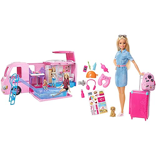 Barbie FBR34 ESTATE Dream Camper Pink Pop Out Caravan for Dolls, Accessories Included, Playset Vehicle [Amazon Exclusive] & Doll & Accessories