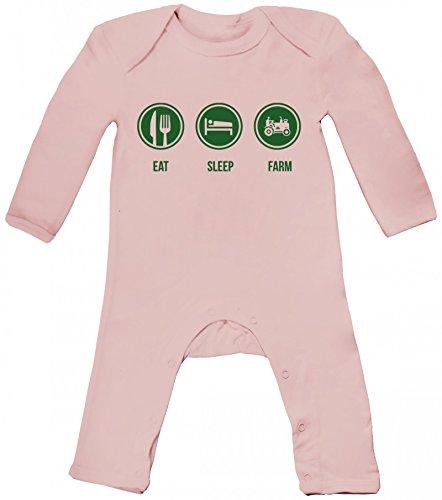 Bauer Landwirt Traktor Baby Strampler Langarm Schlafanzug Jungen Mädchen Eat Sleep Farm, Größe: 3-6 Monate,Powder Pink