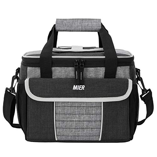 MIER Large Soft Cooler Bag Insulated Lunch Box Bag Picnic Cooler Tote with Dispensing Lid Multiple Pockets 18 Canblack and grey