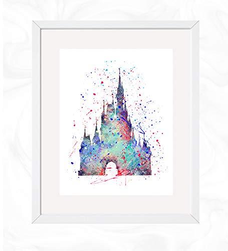 Cinderella's Castle Prints, Cinderella Disney Watercolor, Nursery Wall Poster, Holiday Gift, Kids and Children Artworks, Digital Illustration Art