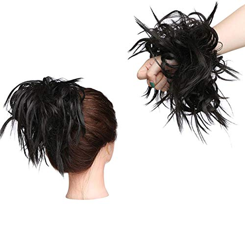 XXL Postiche Cheveux En Caoutchouc Chouchou Chignons VOLUMINEUX Bouclés Ou Chignon Décoiffé Extension a clip Cheveux Naturel Marron foncé