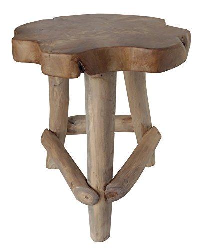 BEHO Natürlich gut in Holz ! Teakholz Hocker / Beistelltisch Jef Rund mit drei Beinen