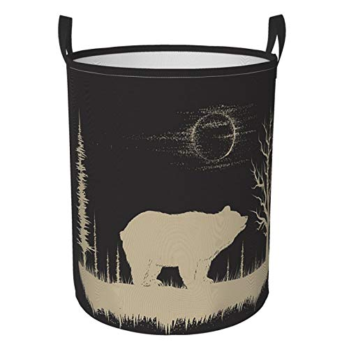 KiuLoam Vintage Forest Bear Animal Laundry Baskets Bedroom Hamper Collapsible Waterproof Oxford Fabric with Handle Foldable Cloth Washing Bin Tote Bag 165 Inches