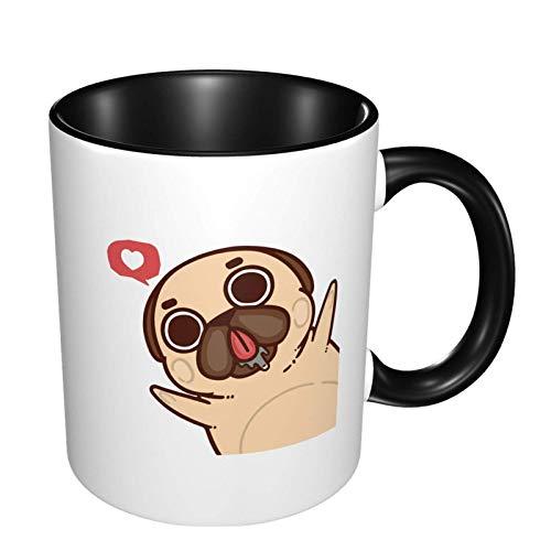 Taza de café de cerámica brillante del perro del animal doméstico del perro del barro amasado, taza de té para la oficina y el hogar conveniente para el microondas