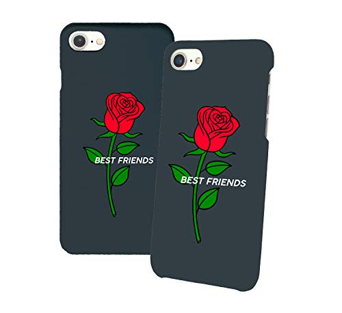Best Friends Red Rose_011357 Iphone Phone Hard PC Case Cover For Couples Best Friends In Relationship Present BFF Bae For Iphone 6 6s 7 7plus 8 X Case Cover 3D Print
