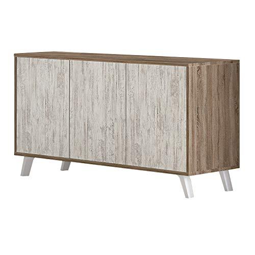 Mueble Aparador 3 Puertas, Buffet para Cocina y Comedor, Modelo Soto, Acabado en Color Trufa y Blanco Cañon, Medidas: 138 cm (Largo) x 39,5 cm (Fondo) x 70 cm (Alto)
