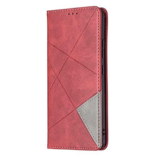 Funda de piel con tapa para Sony Xperia 5 y XZ 5, diseño de diamante, color rojo