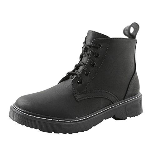 Anguang Damen Stiefeletten Stiefel Winter Warm Gefüttert Schnürstiefel Boots Schuhe Schwarz 1 38
