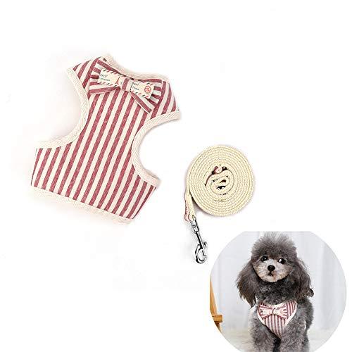 Arnés ajustable para cachorro con collar y correa para perro ajustable transpirable cómodo arnés para perros sin tirones chaleco malla suave arnés de rayas clásico con pajarita cuerda mascotas gatos