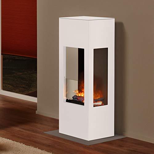 muenkel design Prism Fire - Opti-Myst Elektrokamin Kaminofen Kamin - Korpus weiß (warm) - mit Heizung - Dekoholz mit Stehrost gezackt