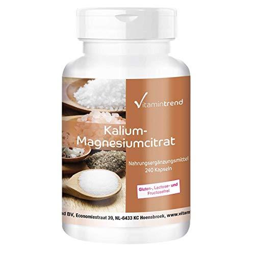 Citrato de magnesio y potasio - Alta dosificación - vegano - 240 cápsulas