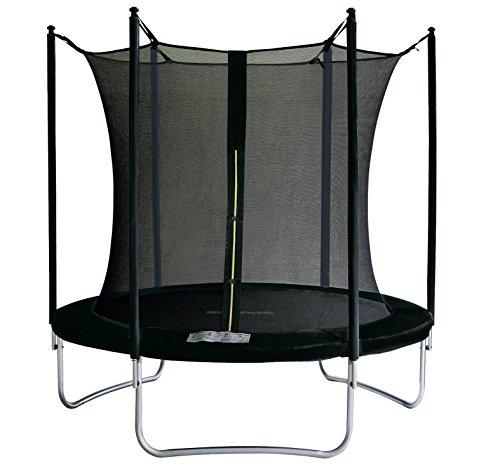 SixBros. SixJump 1,85 M Trampolino elastico da giardino nero con rete di sicurezza - TS185/2013