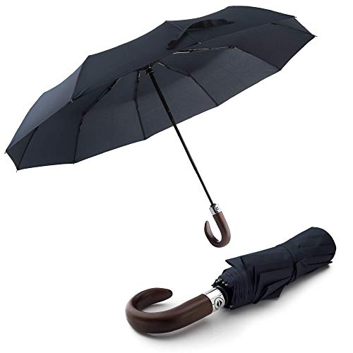 London Bridge-10 Rippen winddichter Reise-Regenschirm – kleiner faltbarer Regenschirm für Männer Frauen – starker automatischer Teleskop-Regenschirm mit Holzgriffen, dunkelblau