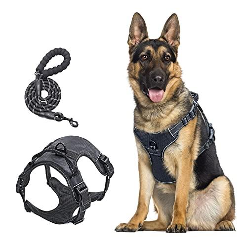 Hundegeschirr für Kleine und Mittelgroße Hund - (M) Anti Zug Hundegeschirr Welpengeschirr Reflektierend Verstellbar Ausbruchsicher Brustgeschirr für Kleine und Mittel-große Hund Welpe, Schwarz