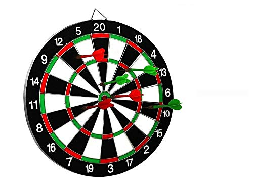 SLYK Dart Board Set 12' (Round Metal Wiring), Double Sided with 4 Metal Darts + 3 Steel Tip Darts